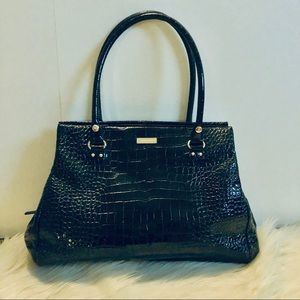 Kate Spade Black Croc Leather Bag Lovingly Used